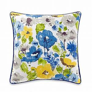 Jacklyn Square Throw Pillow in Yellow Blue Bed Bath & Beyond