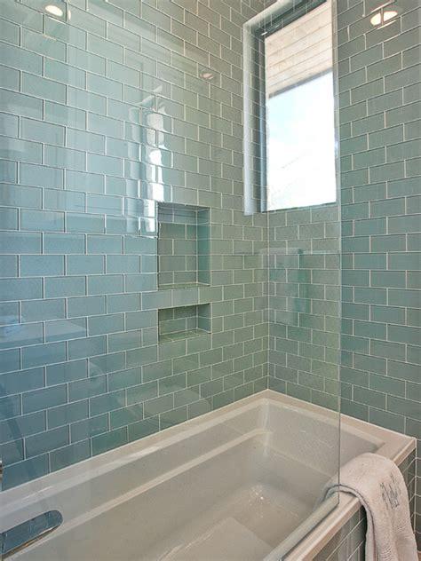 blue glass subway tiles contemporary bathroom glynis