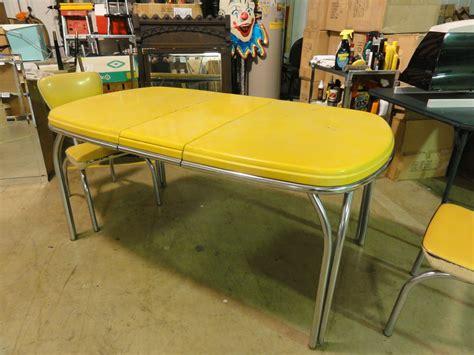dinette set retro vintage kitchen chrome yellow chairs yellow table ebay