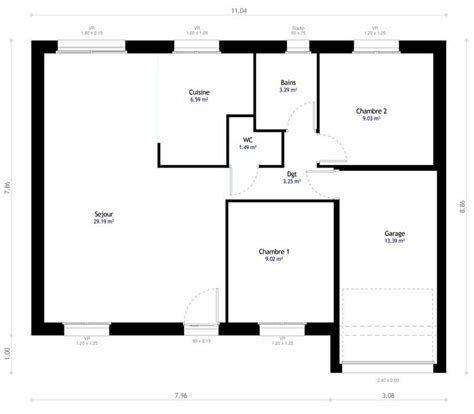 modele maison plain pied 3 chambres plan maison individuelle 2 chambres 101 habitat concept