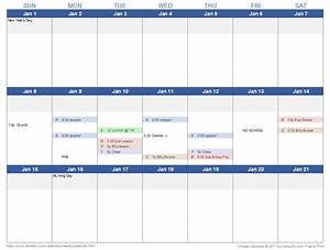 weekly calendar template for excel With 3 day calendar template