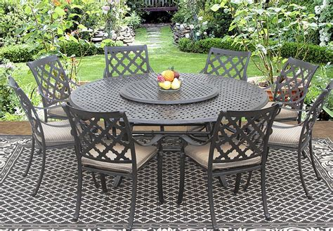 round outdoor dining table for 8 camino real cast aluminum outdoor patio 9pc dining set 8