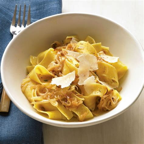kitchen ideas magazine pappardelle with caramelized onions and parmesan recipe