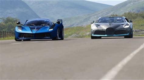 Forza horizon 4 drag race: Bugatti Divo ( Cockpit ) vs Ferrari FXX-K at Highlands - YouTube
