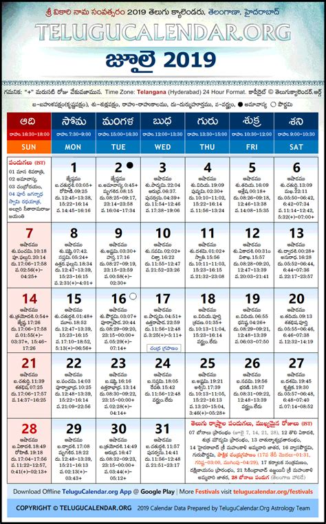 telangana telugu calendars  july festivals