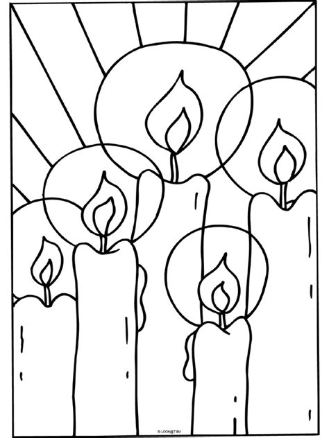 Kaarsen In De Nacht Kleurplaat by Kleurplaat Kaarsen Kerstmis Kleurplaten Nl
