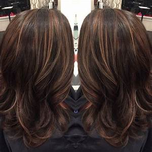 Dark brown hair with caramel highlights and midlength hair ...