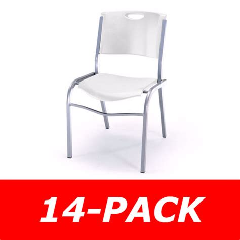 Lifetime Stacking Chairs 14 Pk by Lifetime 80311 White Stacking Chair 14 Pack On Sale With