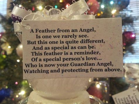guardian angel feather ornament  poem  mothers