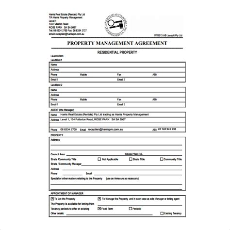 property management agreement templates  word
