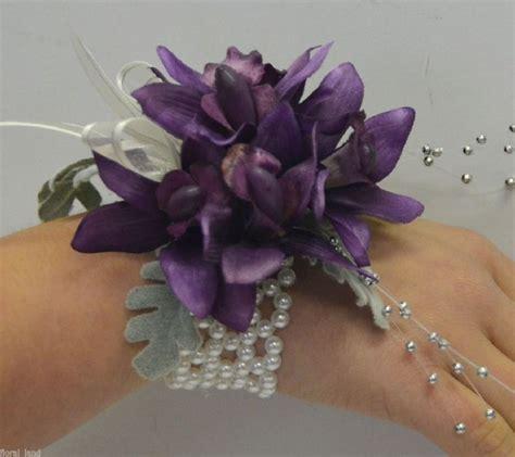 silk corsages silk wedding flower purple orchid wrist