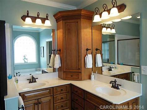 cabinet on l shaped vanity bathrooms pinterest
