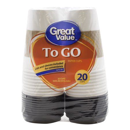 • all hot beverage drinkers having different heat tolerances, current lids and cups leave coffee drinkers no option but to test the coffee temperature with their. Great Value To Go Paper Cups & Lids, 16 Oz, 20 Count ...
