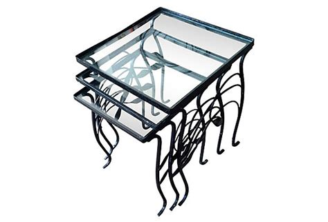 glass and iron table wrought iron glass nesting tables omero home