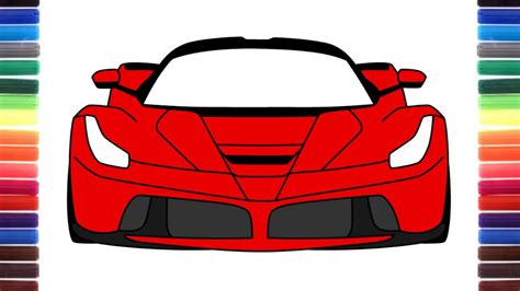 How To Draw Ferrari Laferrari Front View Step By Step