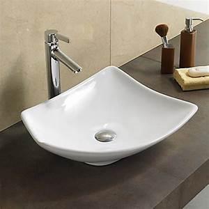 Meuble Salle De Bain Asymétrique : vasque salle de bain asym trique blanc feuille vasque poser ~ Nature-et-papiers.com Idées de Décoration