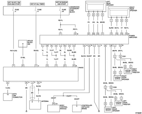 wiring diagram of factory radio on crossfire i need to replace speaker and head unit components on my