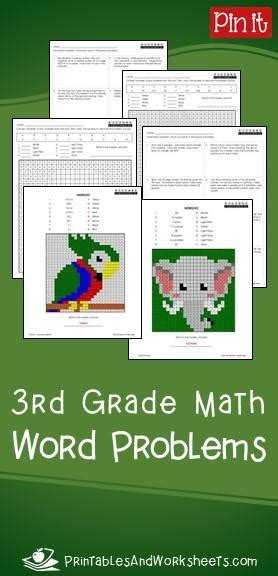 grade math word problems printables worksheets