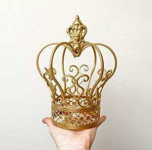 silver  gold color metal crown cake topper flower