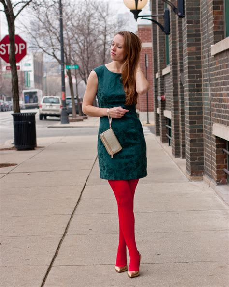 Brocade Green Holiday Dress Red Tights Gold Pumps Gold Accessories - Style by Joules