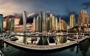 United, Arab, Emirates, Dubai, Marina, Sunset, City, Landscape