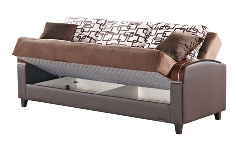 Soho Brown Fabric Sofa Bed By Empire Furniture Usa