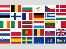 Vector set of flags of European Union Stock Vector