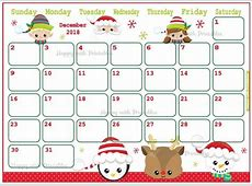 Calendar December 2018 Cute Christmas Planner Printable Etsy