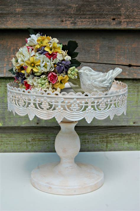 shabby chic wedding cake stand items similar to wedding cake shabby chic vintage style rustic pedestal cake stand your