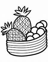 Pineapple Coloring Fruits Bowl Fruit Printable Drawing Pineapples Clip Vegetables Paper Getdrawings sketch template