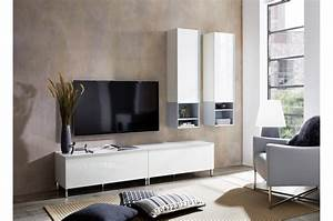 Meuble Tv 1m : meuble tv salon contemporain blanc amazone cbc meubles ~ Teatrodelosmanantiales.com Idées de Décoration