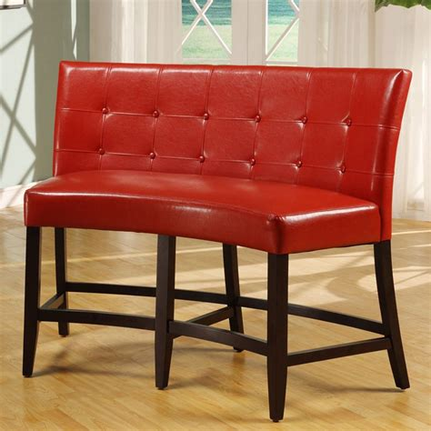 bossa counter height banquette red leatherette dining