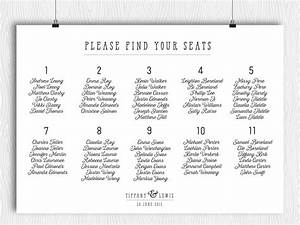 printable seating chart modern minimalist calligraphy plan With dinner seating plan template