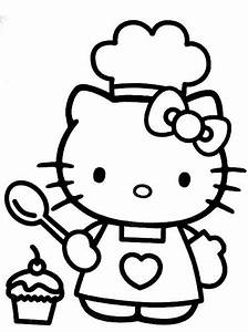 Hello Kitty Cooking Free Coloring Page Hello Kitty Kids