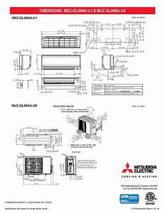 Mini Split 9 000 Btu Mitsubishi 24 6 Seer Heat Pump System Muzgl09nau8  Mszgl09nau1