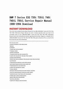 Bmw 7 Series E32 735i 735i L 740i 740il 750il Service Repair Manual 1 U2026