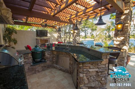 Tuscan Style Outdoor Living Space Pergola