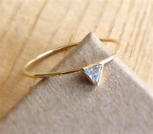 diamond engagement ring triangle diamond ring 14k by artemer With triangle wedding ring