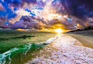 Sunset, Through, Breaking, Wave