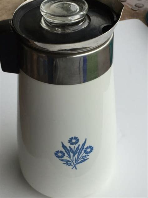 Search results for stovetop coffee makers. Vintage Corning Ware 9 Cup Cornflower Stove Top Percolator Coffee Pot Immaculate for sale online ...