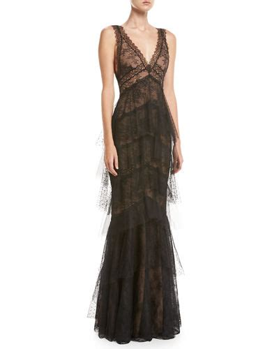 marchesa notte sleeveless lace tiered gown