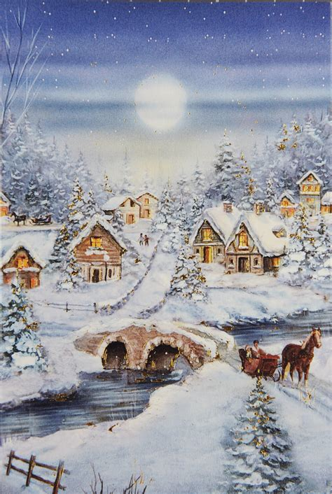 klassische grusskarte mit verschneiter winterlandschaft und