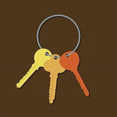 Vector Key Ring Clip Keys Bunch Illustrations
