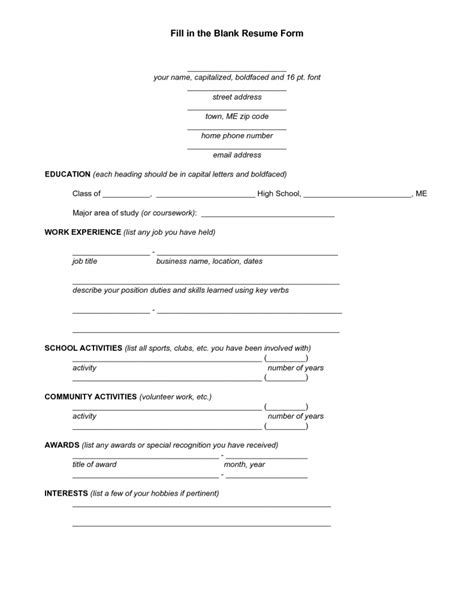 Free Printable Resume Templates by Free Printable Fill In The Blank Resume Templates Resume