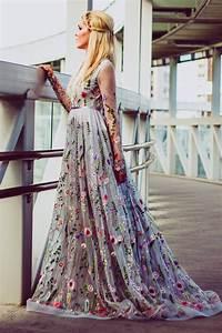 flower wedding dress in gray color wedding dress with With color embroidered wedding dress