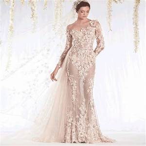 2015 sheer neckline lace applique champagne see through for Long sleeve champagne wedding dress