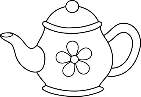 Cute Teapot Line Art