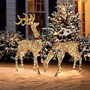 Glitter Sequin Buck & Doe Christmas Decor