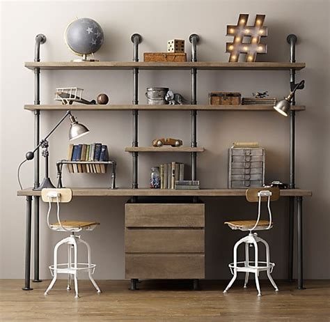 kids desk with shelves industrial pipe double desk shelving with drawers