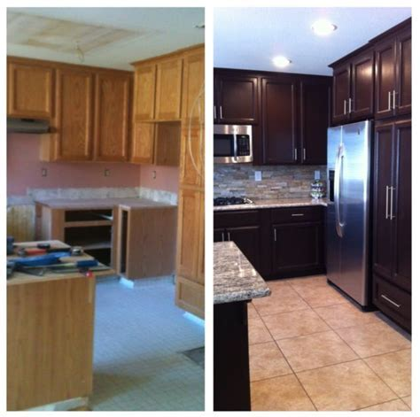 Kitchen before and after with paint, cabinet makeover with